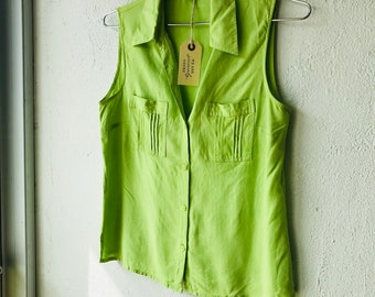 9985946d5f7bd Vintage Chartreuse Green Silk Sleeveless Blouse