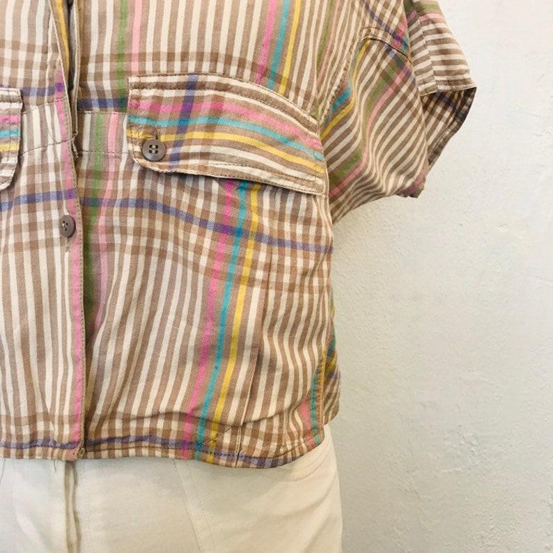 Vintage Plaid Cotton Crop Blouse