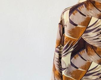 Silk Kimono Jacket Cocoon Shape Palm Print