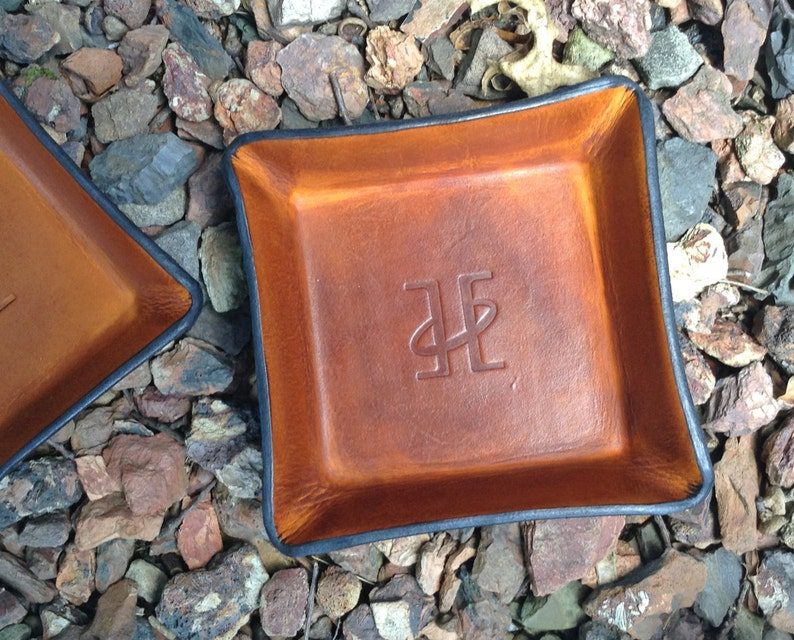9d6746dffbd2 Leather Valet Tray. Twin Saints Leather Logo Leather Tray.
