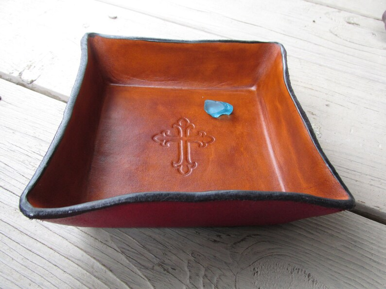 31a04b2b28fe Leather Valet Tray. Religious Gift. Embossed Cross Leather