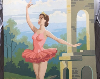 Vintage 1940s Ballerina Paint by Number Pink Dress