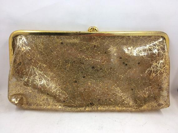 Vintage Clear Gold Glitter Plastic Clutch Purse