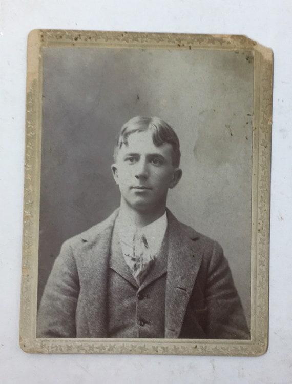 Vintage Photograph Carte De Visite CDV Black And White Man In
