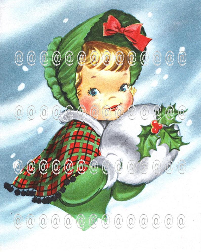 Immagini Di Natale Vintage.Albero Di Natale Cartolina Di Natale Vintage Download Digitale Holly Ragazza Manicotto Plaid Del Capo