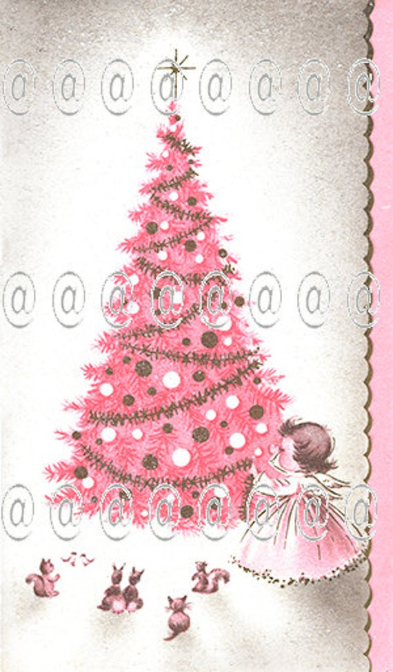 Digital download vintage Christmas card pink Christmas tree | Etsy