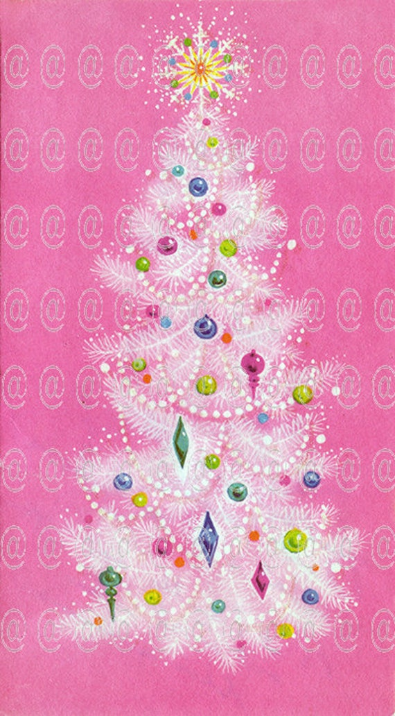 Digital download vintage Christmas card Christmas tree pink | Etsy
