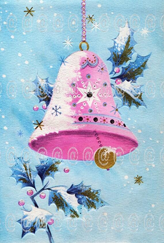 Digital download vintage Christmas card bell pink blue | Etsy