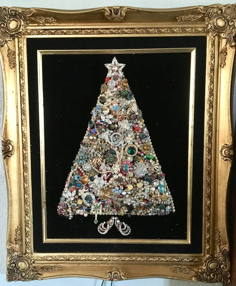 Vintage Costume Jewelry Christmas Tree In Frame 16x19 Etsy