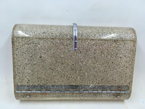 Vintage Wilardy 1950s Plastic Clutch Purse Silver