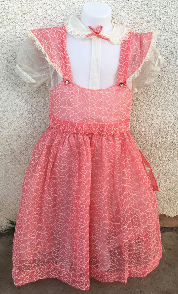 Vintage 1950s 50s Little Girl Child Dress Flocked