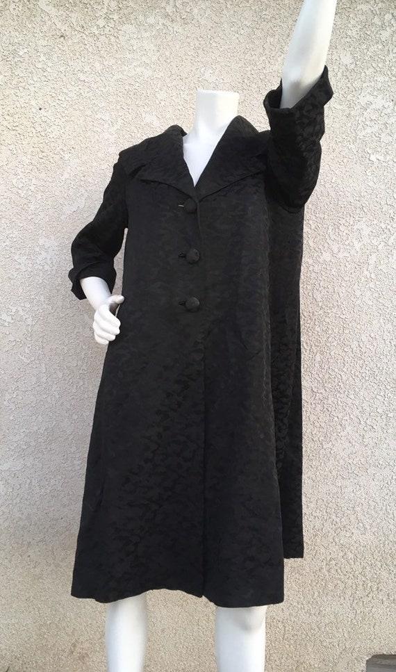 Vintage 1950s Black Coat Miss Elliette California