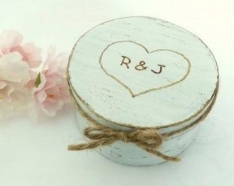 Ring Box Wedding Ring Pillow Alternative Wedding Ring Bearer Shabby Chic Rustic Ring Box, Engraved Initials and Heart Ring Bearer Pillow Box