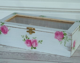 Wooden Tea Box Tea Storage Box Rustic Tea bag Organizer Shabby chic Decor French Pink Roses