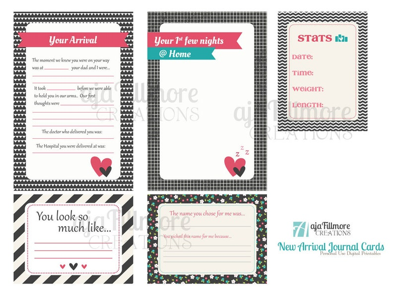 Project Life baby girl card printables New Arrival Girl Printable Journaling Cards