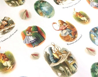 Alice in Wonderland gift wrap, eco wrapping paper