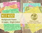 Wild Words Background Papers on Printable Paper Digital Collage Sheet Junk Journal Pages Instant Download