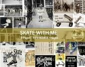 Vintage Photo Digital Download SKATE WITH ME |  Junk Journal Printable Ephemera
