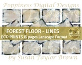 ECO PRINT LINED Landscaper paper digital | Eco Dyed Junk Journal Pages (Forest Floor) Has matching background pages
