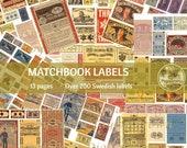 LABELS VINTAGE Swedish MATCHBOX | Printable Ephemera for Junk Journals