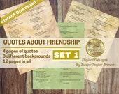 Printable Quotes on FRIENDSHIP, Digital Collage Sheet Junk Journals, (SET 1)