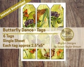 Butterfly Dance in Nature Printable Tags Digital Collage Sheet Vintage Illustrations Instant Download