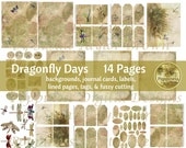 Dragonfly Days Junk Journal Digital Kit Nature Prints (14 Pages) Coordinates with Forest Ferns and my Eco Prints