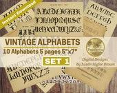 Vintage Alphabets Digital Download for Junk Journal, Collage Sheet
