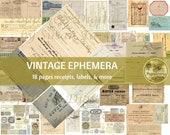 VINTAGE EPHEMERA & RECEIPTS | Printable Digital Kit Antique Ephemera for Junk Journals