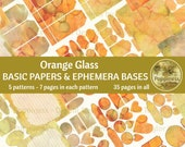 ORANGE GLASS Printable Background Paper Pack Ephemera Bases Lined Paper Collage Sheet Junk Journal Pages Instant Download