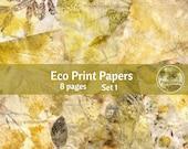 Eco Dyed Nature Prints Digital Download Junk Journal Pages (SET 1)