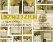 Animal Symbolism Cards Printable Digital Collage Sheet Vintage Illustrations Instant Download