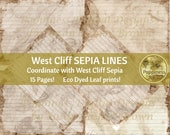 ECO PRINT LINED paper digital | Eco Dyed Junk Journal Pages (West Cliff Sepia) Has matching background pages