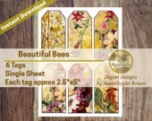 BEE PRINTABLE TAGS   Bees in Nature Junk Journal Digital Collage Sheet Vintage Illustrations Instant Download