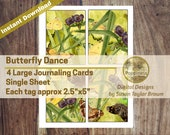 Butterfly Dance in Nature Printable Journaling Cards Digital Collage Sheet Vintage Illustrations Instant Download