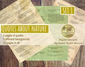 Printable Quotes about NATURE, Digital Collage Sheet Junk Journals (SET 1)