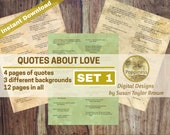 Printable Quotes LOVE, Inspiring Quotes Digital Collage Sheet Junk Journals (SET 1) Printable Words