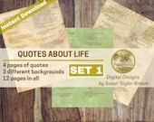 Printable Quotes on LIFE, Inspiring Quotes Digital Collage Sheet for Junk Journals (SET 1) Instant Download Words