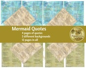 MERMAID QUOTES, Junk Journal Printable Quotes, Digital Collage Sheet  Printable Words