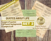 Printable Quotes on LIFE, Printable Words Inspiring Quotes Digital Collage Sheet Junk Journals (SET 2) Words for Journals