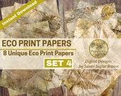 ECO DYED Nature Prints Digital Download Collage Sheet Junk Journals (SET 4)