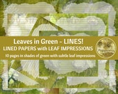 GREEN LEAVES LINED Paper Printable Paper Pack Junk Journal Paper Planner Paper 10 Pages Instant Download