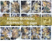 FOREST Morning Digital ECO Print | Leaf Prints Junk Journal Backgrounds | Eco Dyed Paper Earthtone Paper Leaves