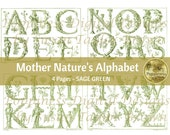 BOTANICAL ALPHABET in SAGE Green | Digital Download for Vintage Junk Journal | Collage Sheet for Paper Crafters