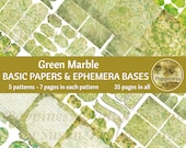 GREEN MARBLE Printable Background Paper Pack Ephemera Bases Lined Paper Collage Sheet Junk Journal Pages Instant Download