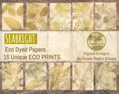 Eco Dyed Nature Prints Digital Download Junk Journal 15 Pages (SEABRIGHT)