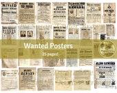WANTED POSTERS | VINTAGE Printable Ephemera for Junk Journals