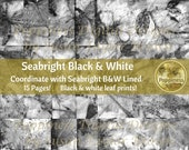 BLACK & WHITE ECO Print Digital Printable Eco Dyed Leaf Prints Junk Journal Background Collage Paper Leaves (Seabright)