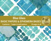 BLUE GLASS Printable Paper Pack Background Ephemera Bases Lined Paper Collage Sheet Junk Journal 35 Pages Instant Download