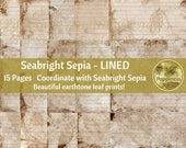 ECO PRINT Digital LINED paper Sepia Eco Dyed Leaf Prints Junk Journal Backgrounds Earthtone Paper Leaves (Seabright)